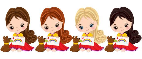 Vector Little Girls Draw. Vector Little Artists