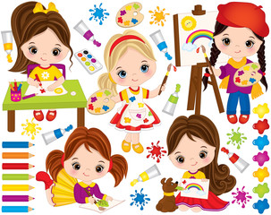 Vector Set with Cute Little Girls and Paint Elements. Vector Little Artists