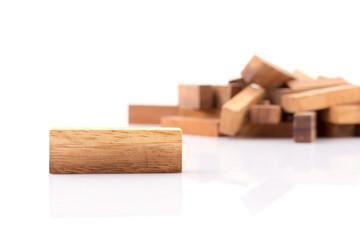 Close up of blocks wood game on white background.