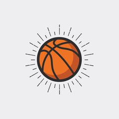 Basketball with sunburst. vector