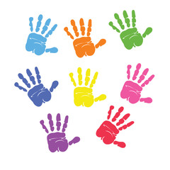 Set of colorful hand prints isolated on white background. vector