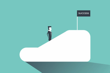 Businessman on an escalator moving up to success. vector
