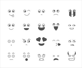 Collection of emoticon emoji cartoon facial expressions with mouth, eyes and eyebrows. Expressions like love, happiness, sadness, crying, naughty, disgusted, devil, surprised, sticking tongue out.