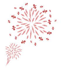 Percent fireworks design on white background vector illustration