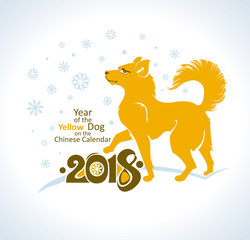 Yellow dog goes under the snowflakes. 2018 year. Vector postcard New Year's design. Year of the Dog on the Chinese calendar.