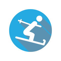 Skier flat icon. Sport sign. Notebook, Calendar and Cogwheel signs icon. Download icon for apps and websites
