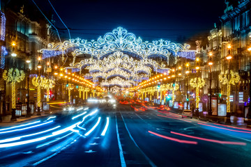 St. Petersburg new year. Nevsky Prospect. New Year's holidays in St. Petersburg. Russia.