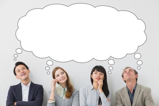 Group of people imagining something.