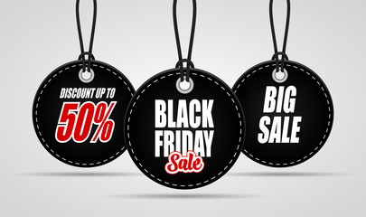 Black Friday sales tag on black background