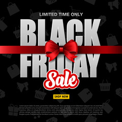 Black Friday sale with red ribbon