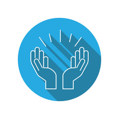 Praying hands flat icon. Religion elements icon. Premium quality graphic design. Signs, outline symbols collection, simple thin line icon for websites, web design, mobile app, info graphics
