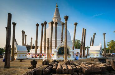 Thuparamaya dagoba (stupa), Anuradhapura, Sri Lanka. It is considered to be the first dagaba built in Sri Lanka following the introduction of Buddhism.