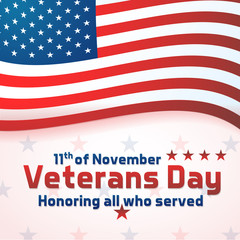 Background banner for Veterans Day, USA celebration. Vector design Honoring all who served. Happy Veterans day 11th of November