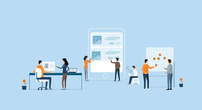 mobile application  development and design  process concept with business  team working concept