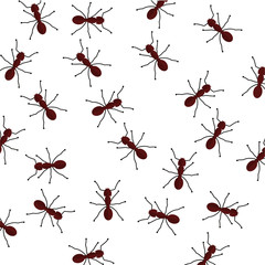 Seamless crawling ants background.