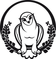 black and white owl sitting label circular