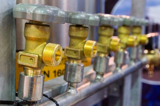 Brass valves for oxygen.