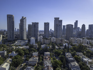 Park Tzameret akirov is a newly built residential neighborhood of Tel Aviv israel apartment buildings, surrounded by green space panoramic view Kikar Hamedina