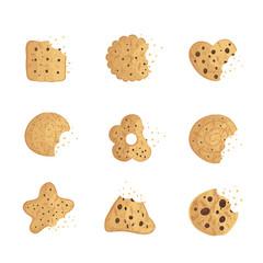 Bitten  chip cookie, cracker, biscuit set . Vector illustration