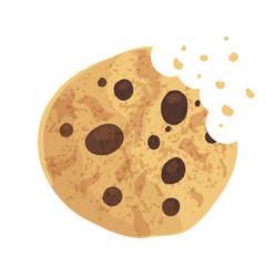 Bitten  chip cookie, cracker, biscuit. Vector illustration