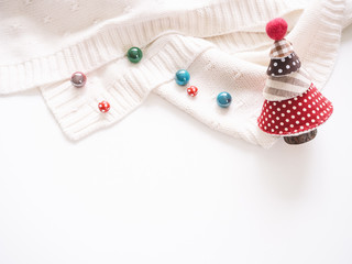 Christmas tree with colourful beads decoration winter season Holiday background