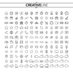 Universal outline icons set
