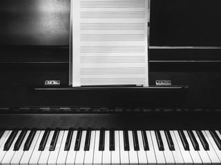Piano keyboard Music sheet Black and white classic music