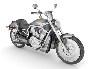 3d render isolated white background chrome-plated motorcycle.