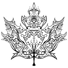 Hand drawn maple leaf ornament Zen illustration
