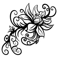 Hand drawn stylized sketch flowers isolated