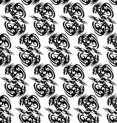 Seamless monochrome pattern with stylized dragons