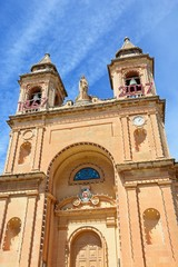Front view of the parish church of Our Lady of Pompei, Marsaxlokk, Malta.