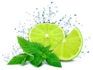 lime water splash and mint isolated