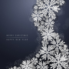 Merry Christmas and Happy New Year greeting card with silver glittering snowflakes wave on dark blue background