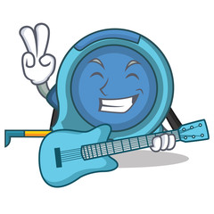 With guitar tape measure character cartoon