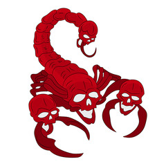 Red scorpion with a head skull (ornate), cartoon on a white background,