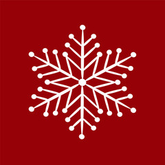 Snowflake white on a red background. Vector image for your design