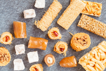 variety of oriental sweets, top view,