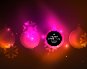 Glowing Christmas ball and snowflakes vector template