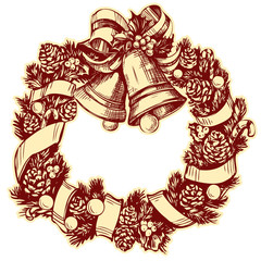 christmas wreath hand drawn vector illustration realistic sketch.