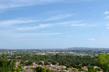 View of San Anton from a height. panorama of the Spanish city. landscape with small houses in Spain.
