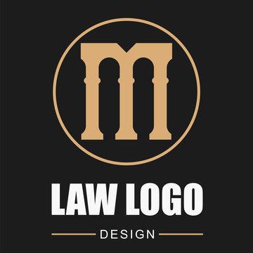 Pillar Logo Design. Letter M. Black background.