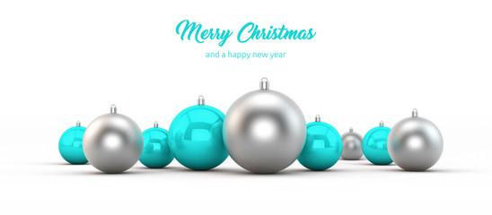 elegante und moderne Grußkarte mit Weihnachtskugeln und Merry Christmas