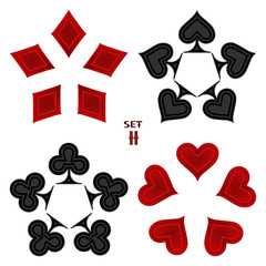 Abstract vector illustration logo for set playing cards in gamble poker