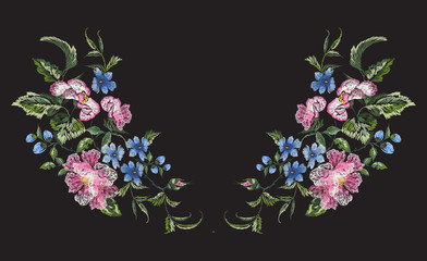 Embroidery floral neckline pattern with roses and violets. Vector embroidered bouquet with flowers for wearing design.