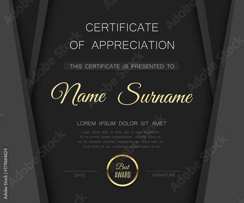 Black matte certificate of appreciation template luxury premium black matte certificate of appreciation template luxury premium award with gold badge vector diploma yadclub Image collections