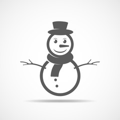 Gray snowman icon. Vector illustration