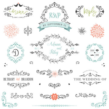 Hand drawn rustic Save the Date and Wedding collection with typographic design elements. Ornate motives, branches, wreaths, monograms, frames and flowers.