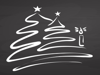 Christmas tree and candle. Sketch on chalkboard