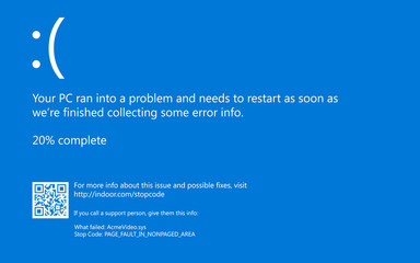 Modern blue screen of death (BSOD) error. Installation new software and hardware problem, virus, emulation, virtual machine, video, register. System Crash Report Background. Vector Illustration